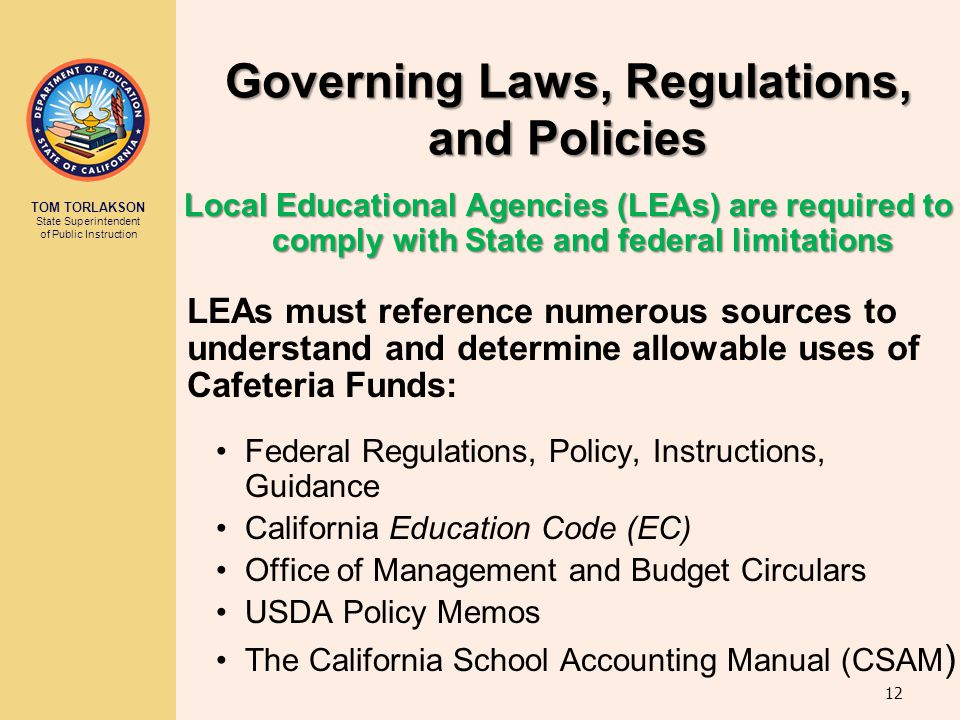 Governing Laws, Regulations, and Policies
