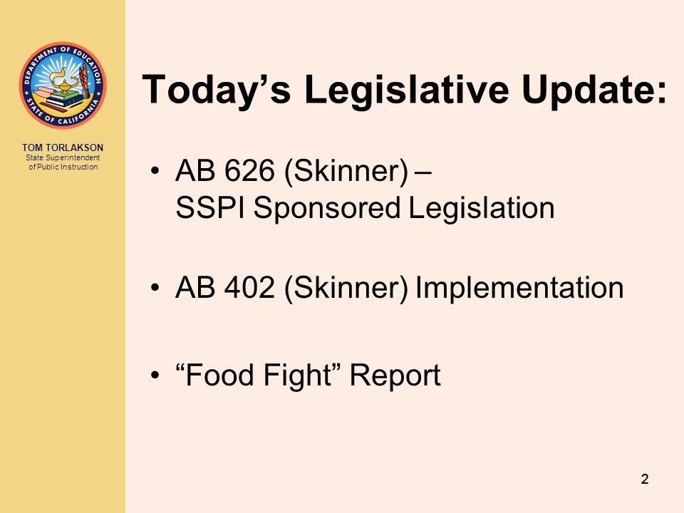 Today's Legislative Update:
