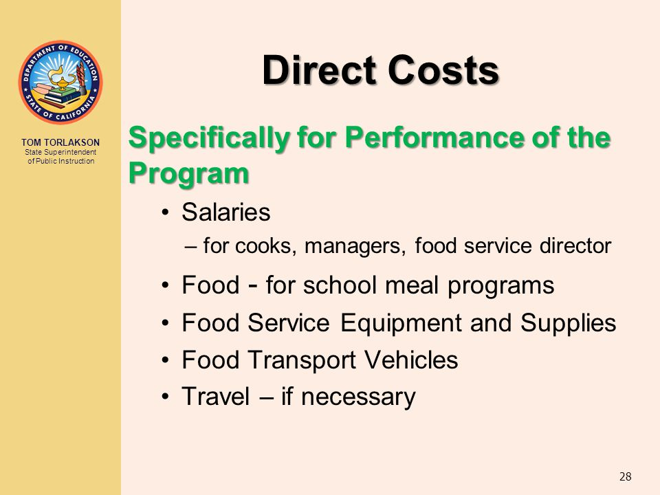 Direct Costs Specifically for Performance of the Program Salaries
