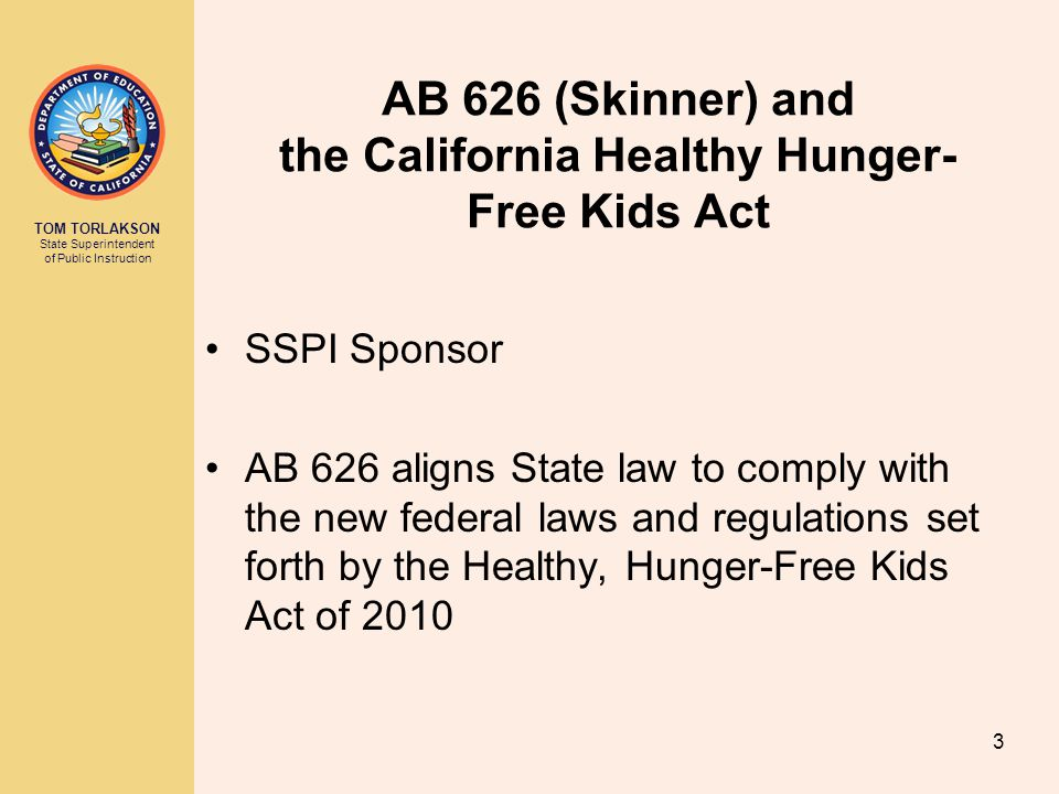 AB 626 (Skinner) and the California Healthy Hunger-Free Kids Act