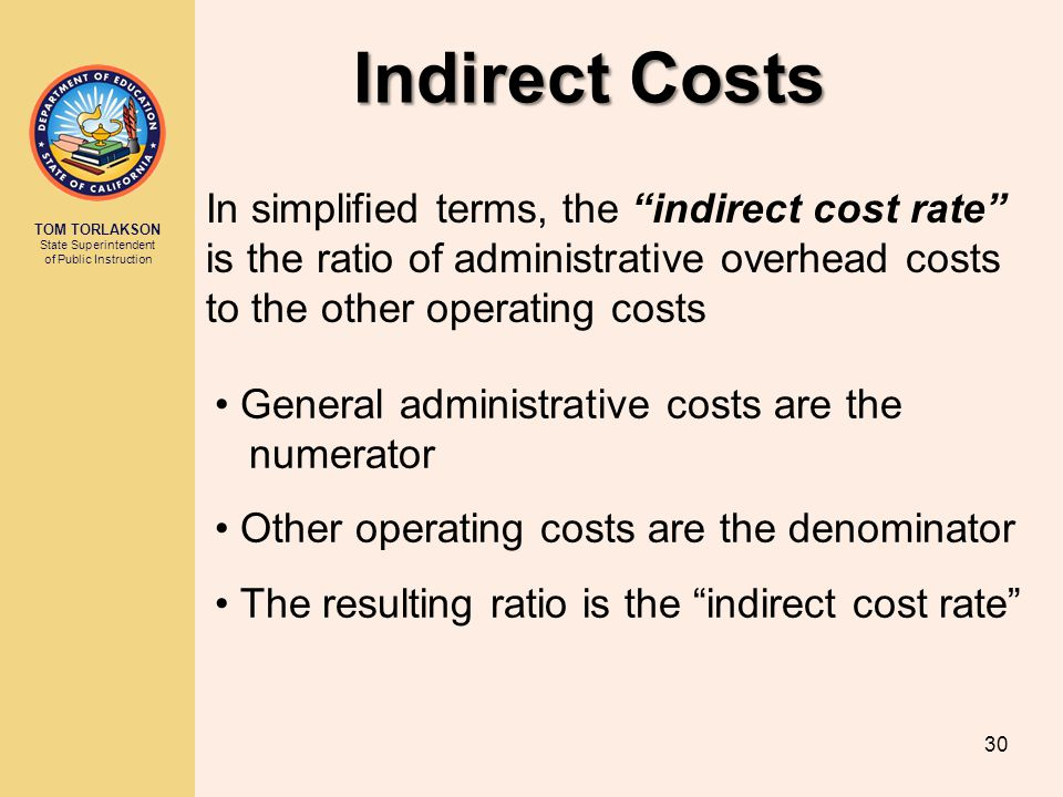 Indirect Costs In simplified terms, the indirect cost rate is the ratio of administrative overhead costs to the other operating costs.