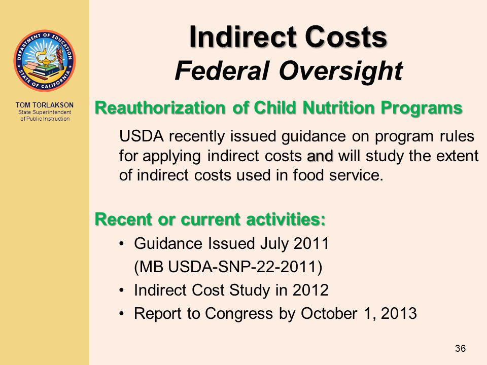 Indirect Costs Federal Oversight