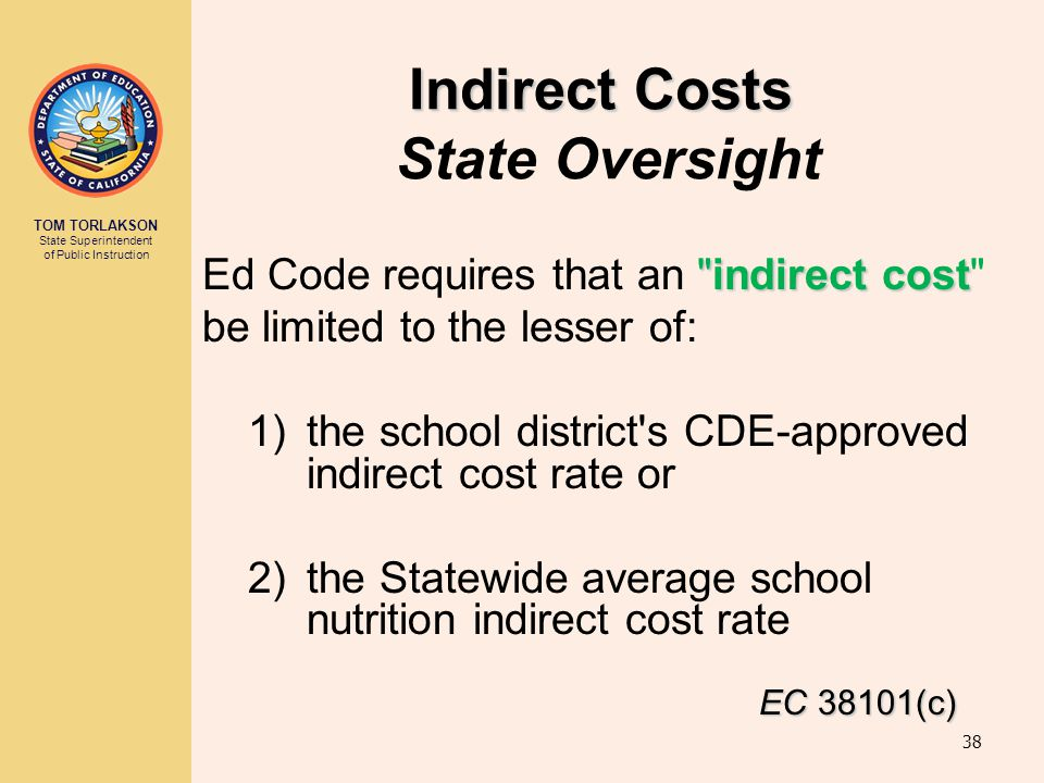 Indirect Costs State Oversight