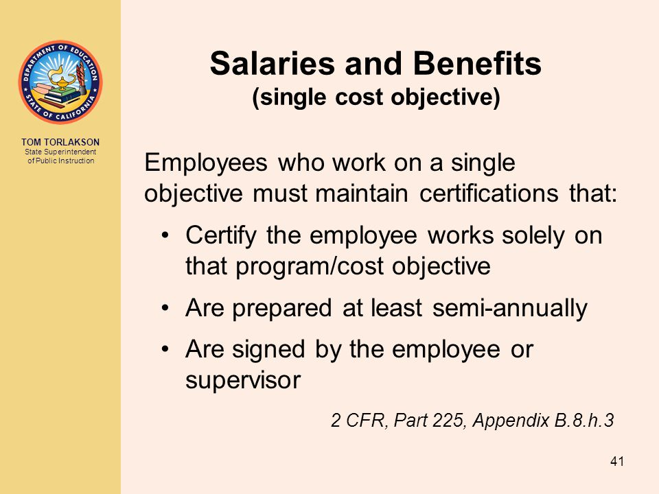 Salaries and Benefits (single cost objective)