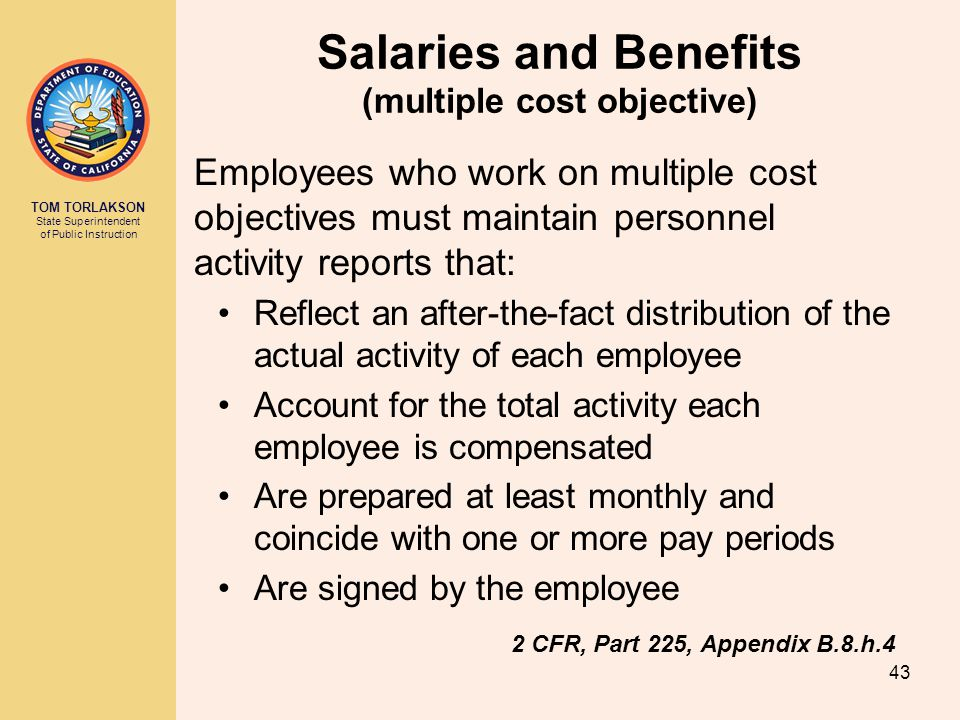 Salaries and Benefits (multiple cost objective)