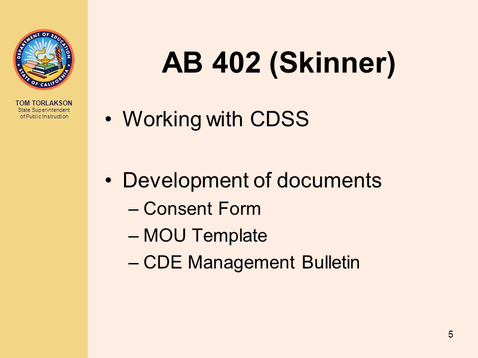 AB 402 (Skinner) Working with CDSS Development of documents