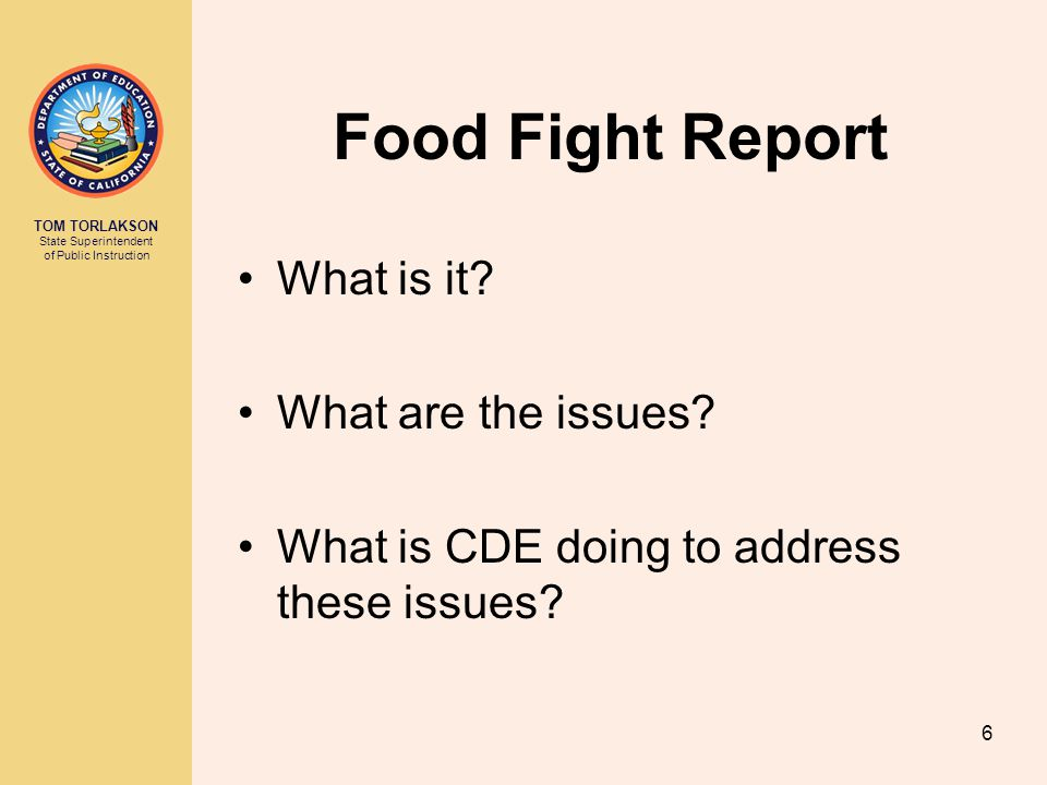 Food Fight Report What is it What are the issues