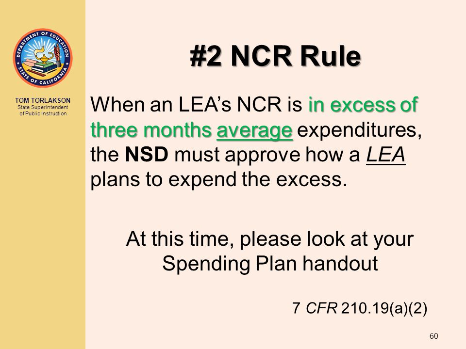 At this time, please look at your Spending Plan handout
