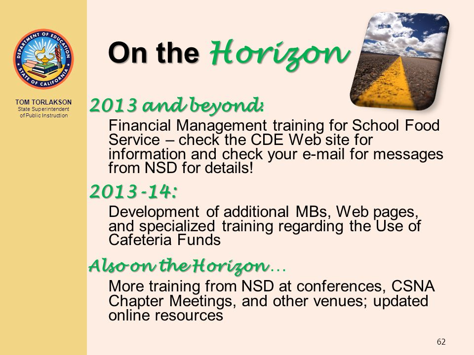 On the Horizon 2013 and beyond: 2013-14: