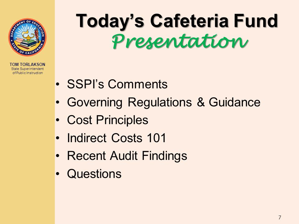 Today's Cafeteria Fund Presentation