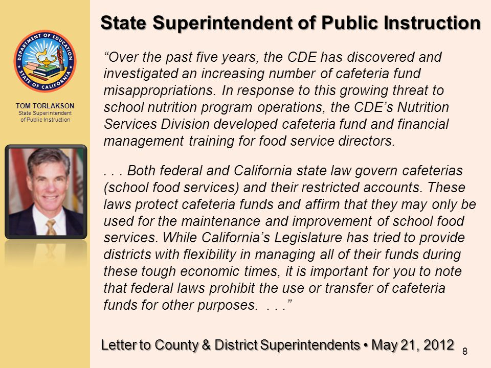 Letter to County & District Superintendents • May 21, 2012