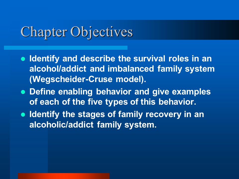 Chapter Objectives Identify and describe the survival roles in an alcohol/addict and imbalanced family system (Wegscheider-Cruse model).