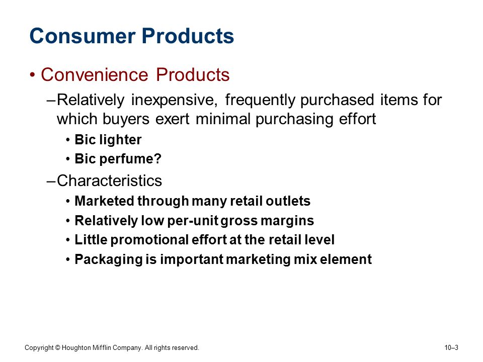 Consumer Products Convenience Products