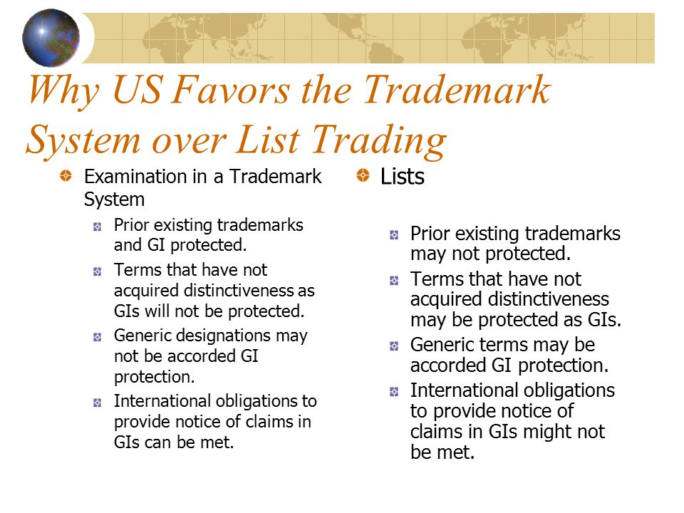 Why US Favors the Trademark System over List Trading