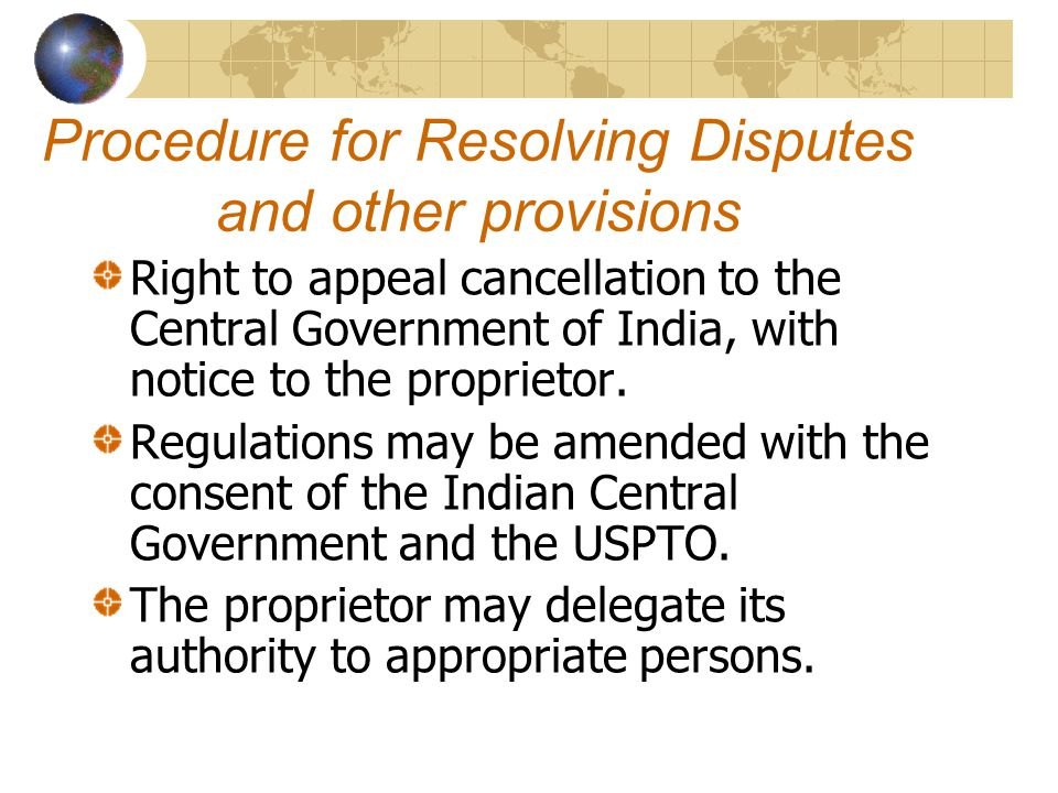 Procedure for Resolving Disputes and other provisions