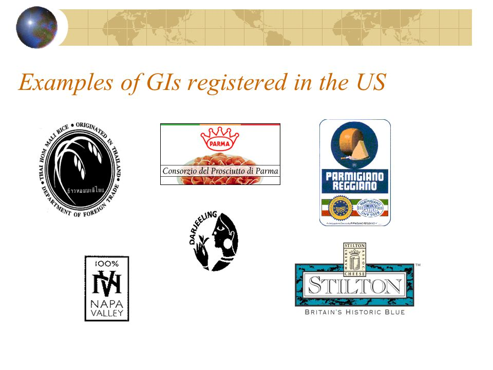 Examples of GIs registered in the US