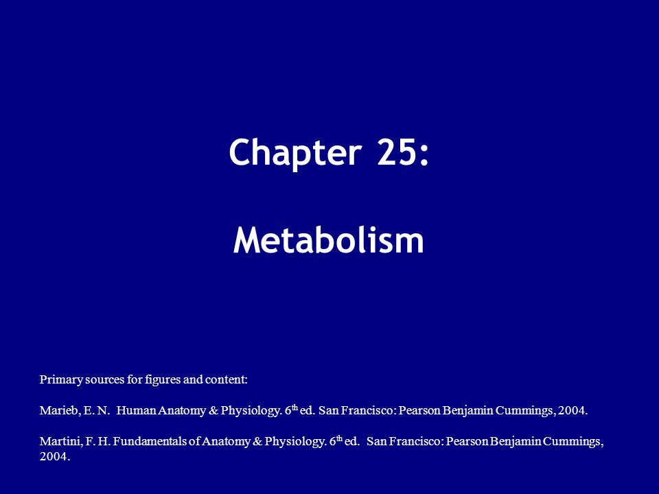 Chapter 25: Metabolism Primary sources for figures and content: