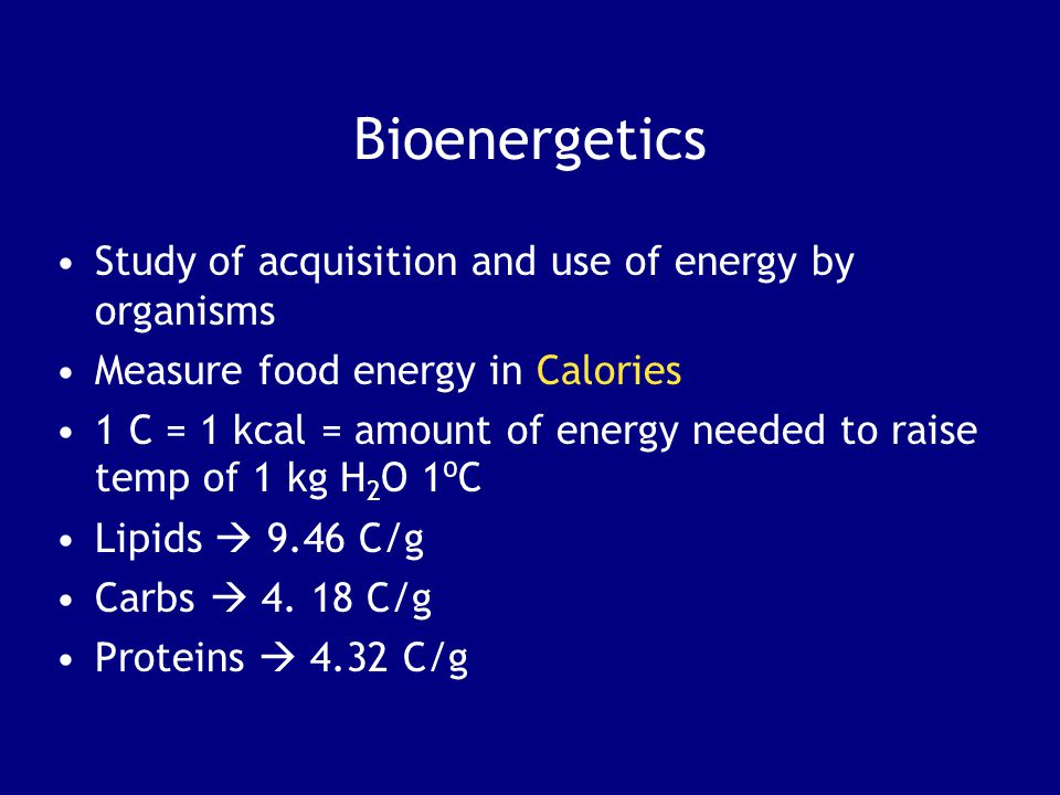 Bioenergetics Study of acquisition and use of energy by organisms
