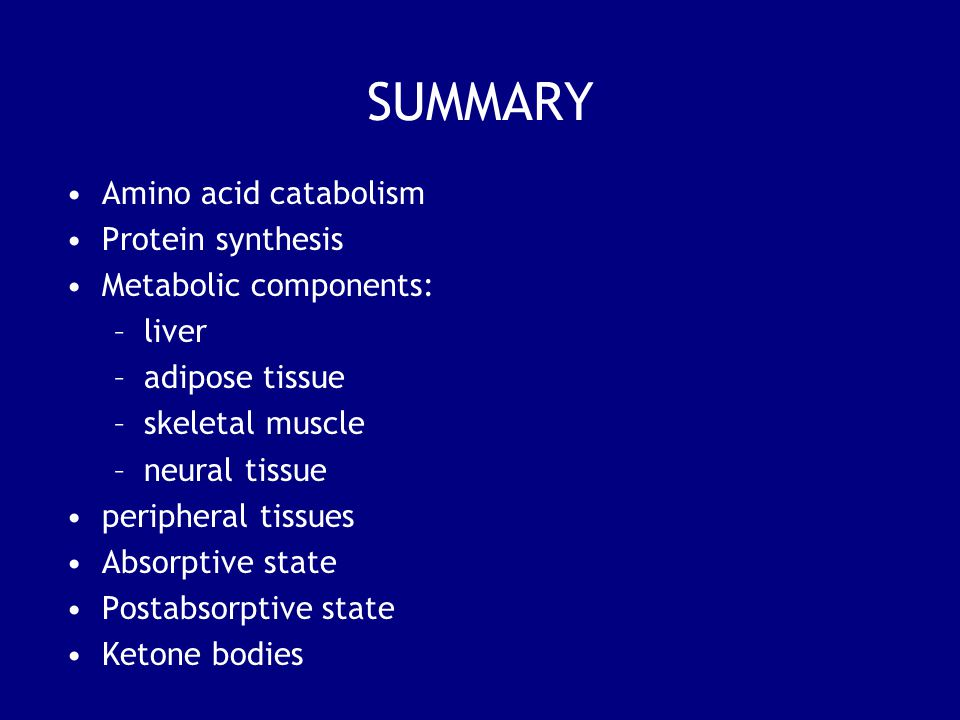 SUMMARY Amino acid catabolism Protein synthesis Metabolic components: