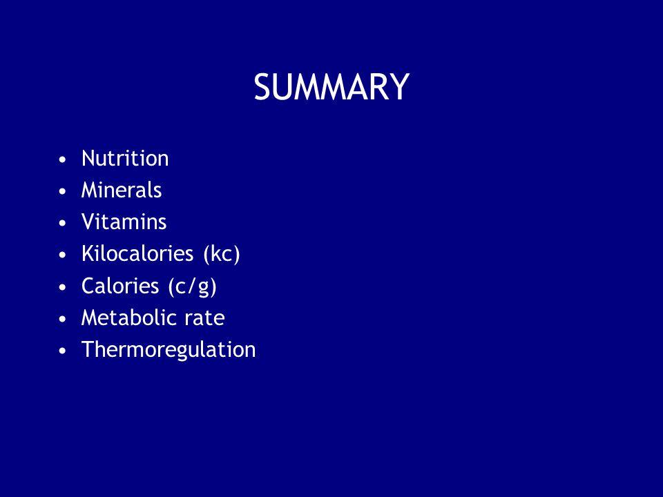 SUMMARY Nutrition Minerals Vitamins Kilocalories (kc) Calories (c/g)