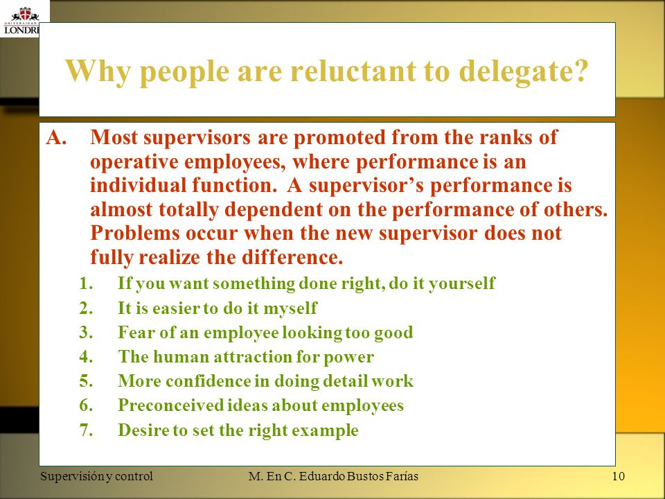 Why people are reluctant to delegate
