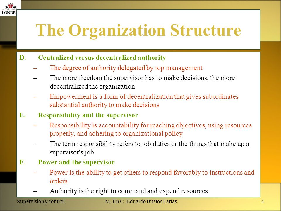 The Organization Structure