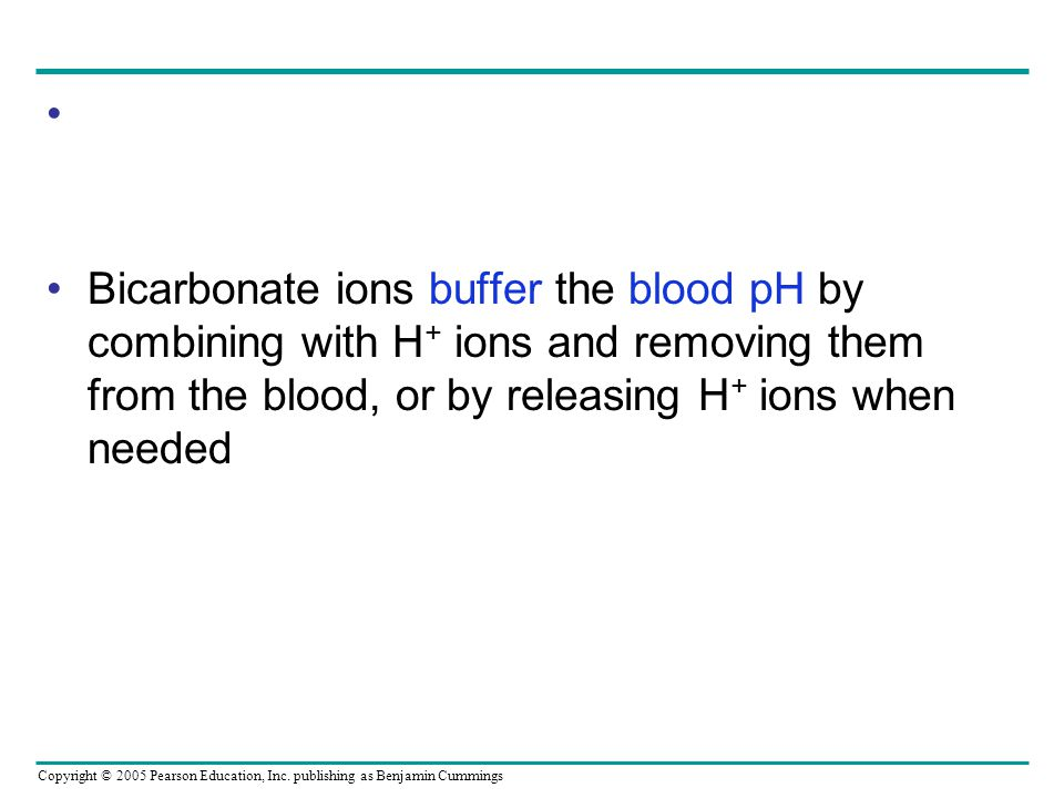 Bicarbonate ions buffer the blood pH by combining with H+ ions and removing them from the blood, or by releasing H+ ions when needed