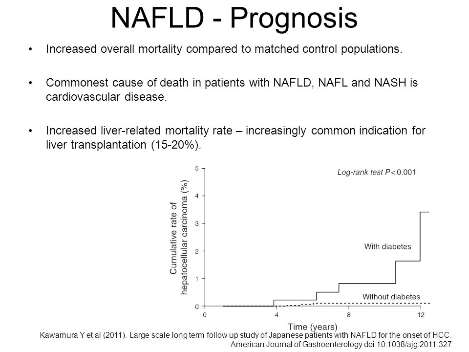 NAFLD - Prognosis Increased overall mortality compared to matched control populations.