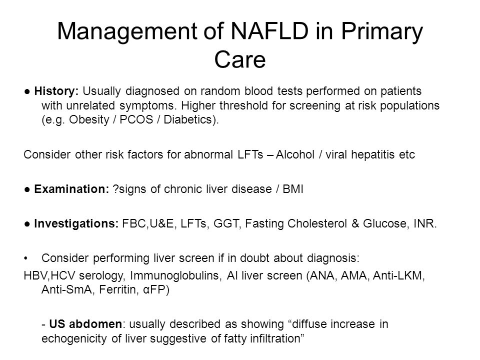 Management of NAFLD in Primary Care