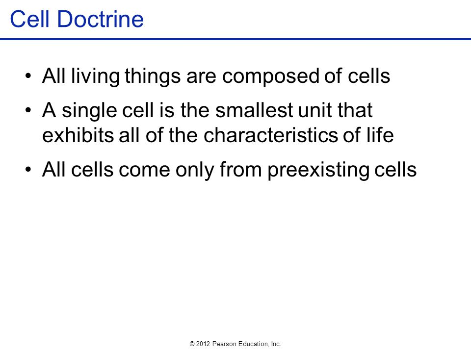 Cell Doctrine All living things are composed of cells