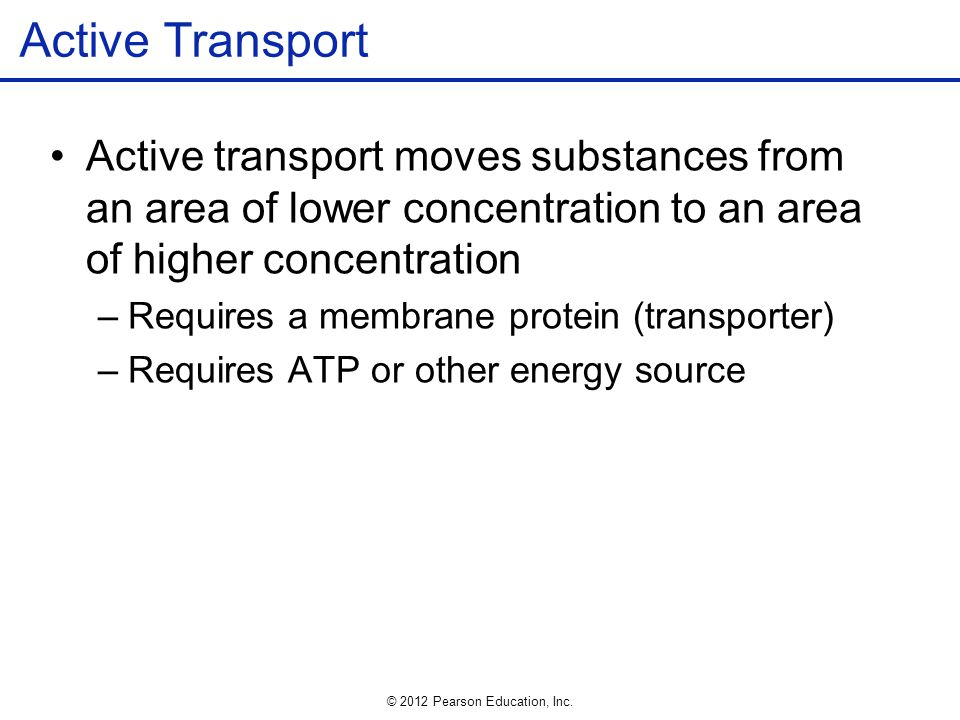 Active Transport Active transport moves substances from an area of lower concentration to an area of higher concentration.