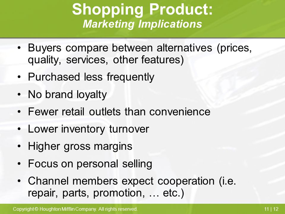 Shopping Product: Marketing Implications