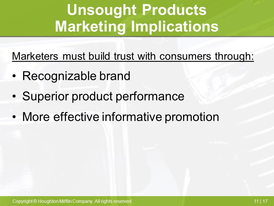 Unsought Products Marketing Implications