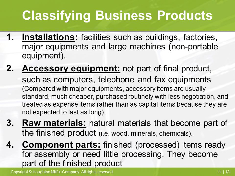 Classifying Business Products