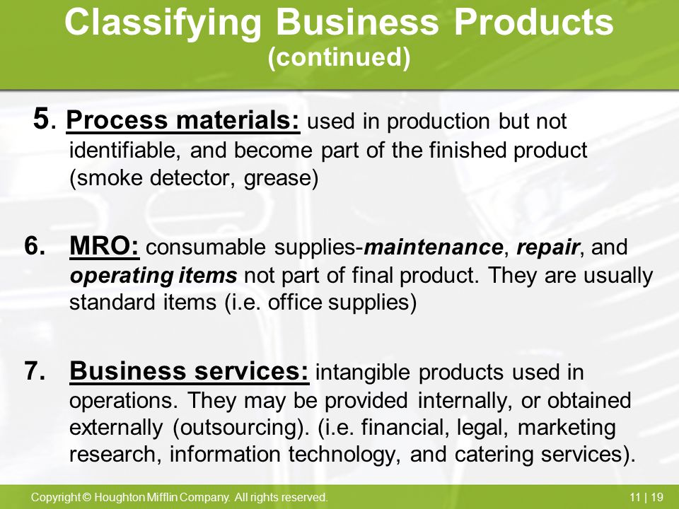 Classifying Business Products (continued)