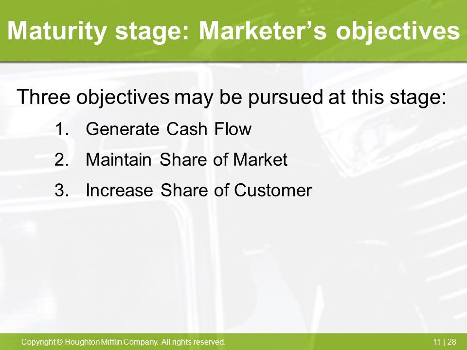 Maturity stage: Marketer's objectives