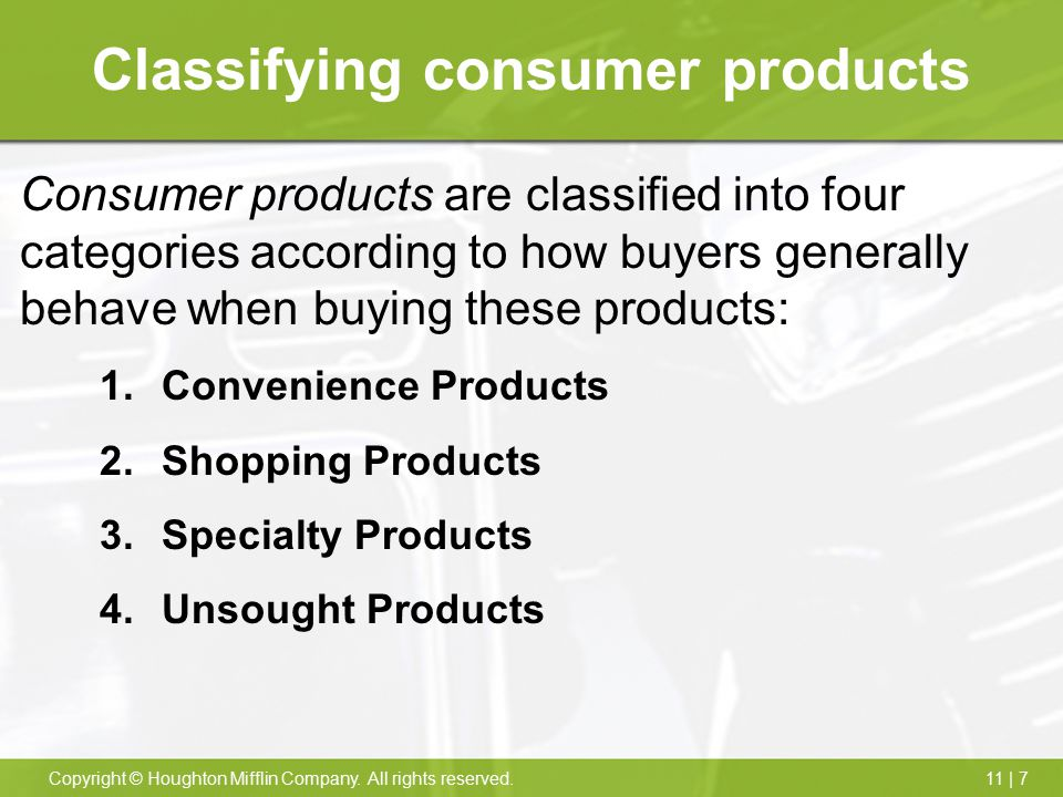 Classifying consumer products