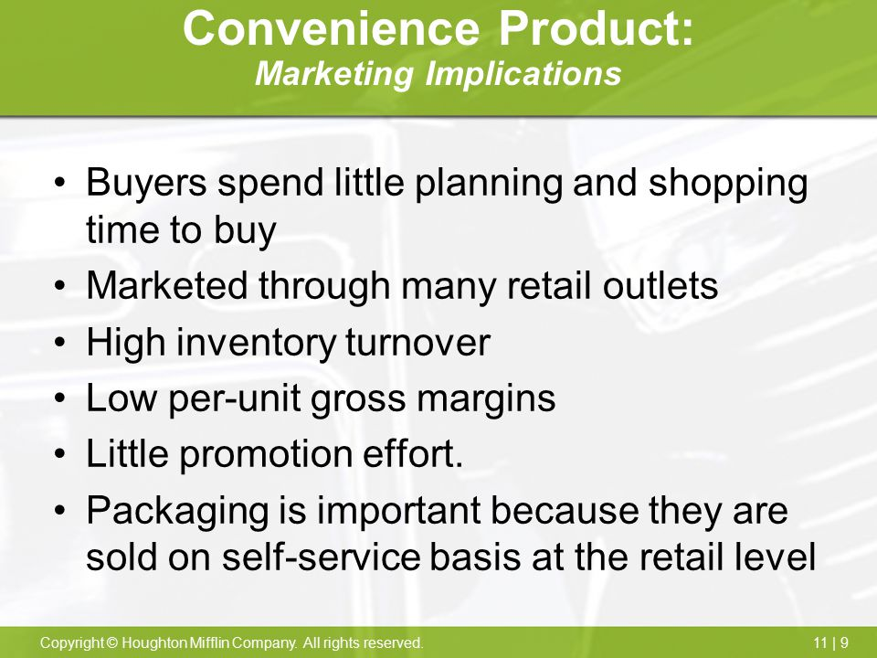 Convenience Product: Marketing Implications