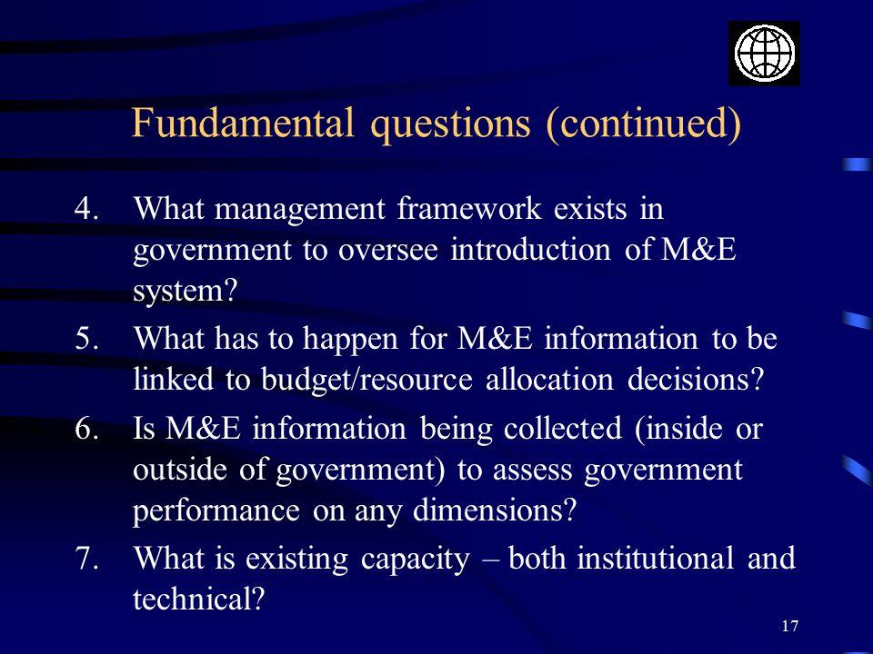 Fundamental questions (continued)
