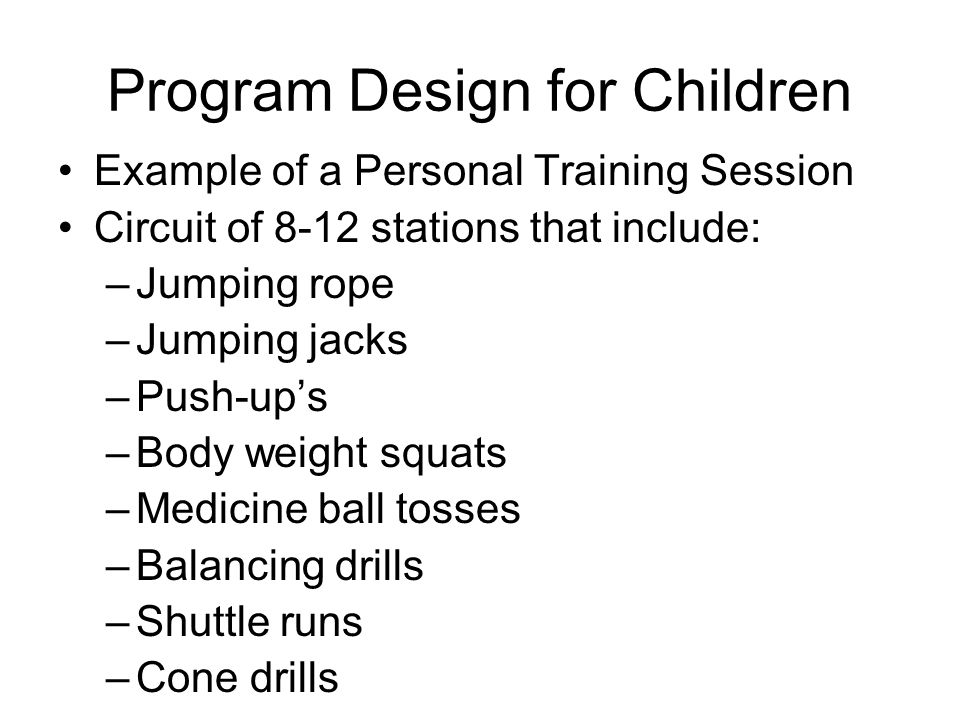 Program Design for Children