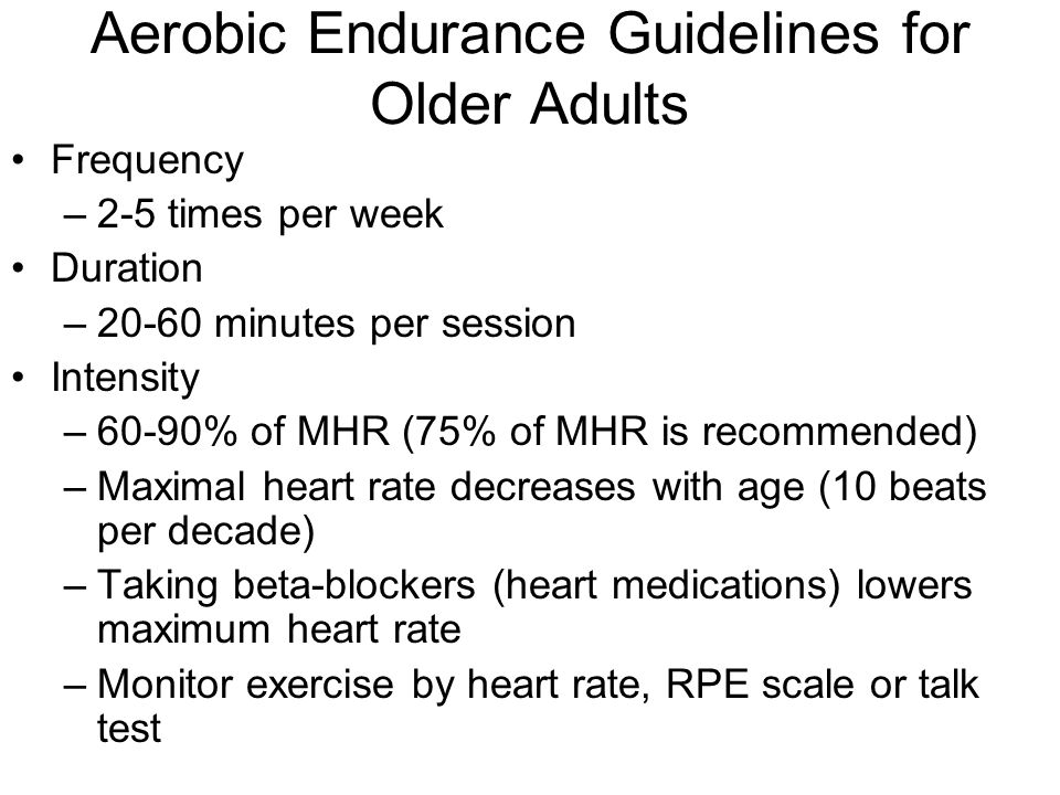 Aerobic Endurance Guidelines for Older Adults