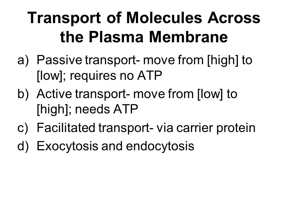 Transport of Molecules Across the Plasma Membrane