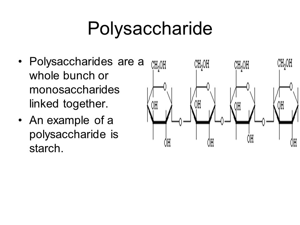 Polysaccharide Polysaccharides are a whole bunch or monosaccharides linked together.
