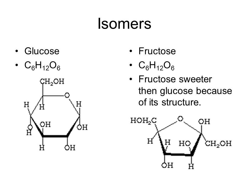 Isomers Glucose C6H12O6 Fructose C6H12O6
