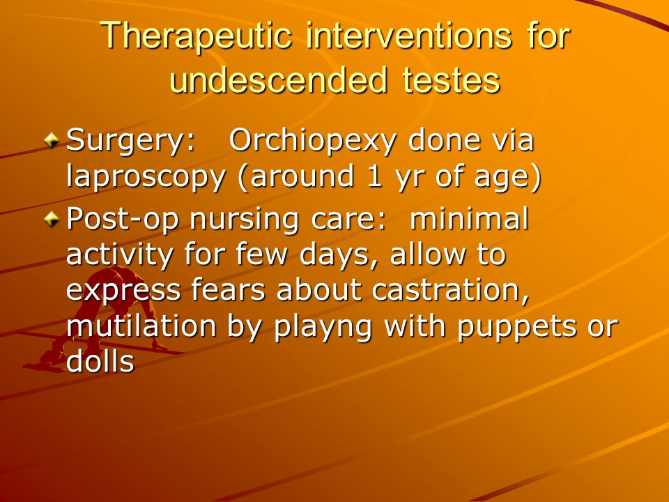 Therapeutic interventions for undescended testes