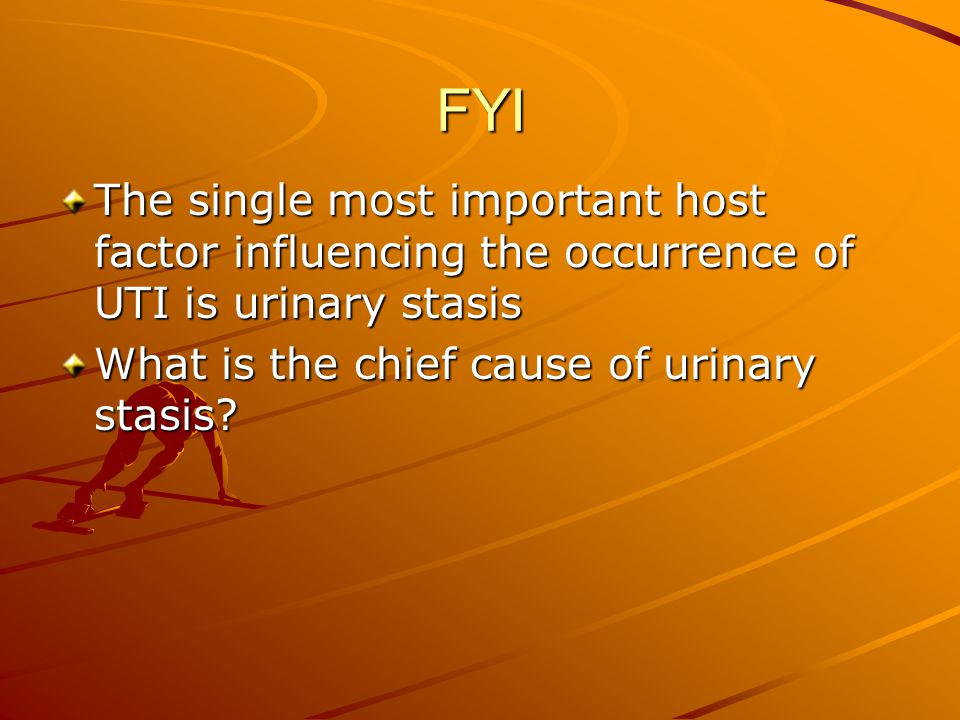 FYI The single most important host factor influencing the occurrence of UTI is urinary stasis. What is the chief cause of urinary stasis