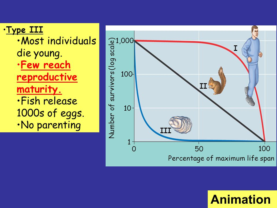 Animation Most individuals die young. Few reach reproductive maturity.