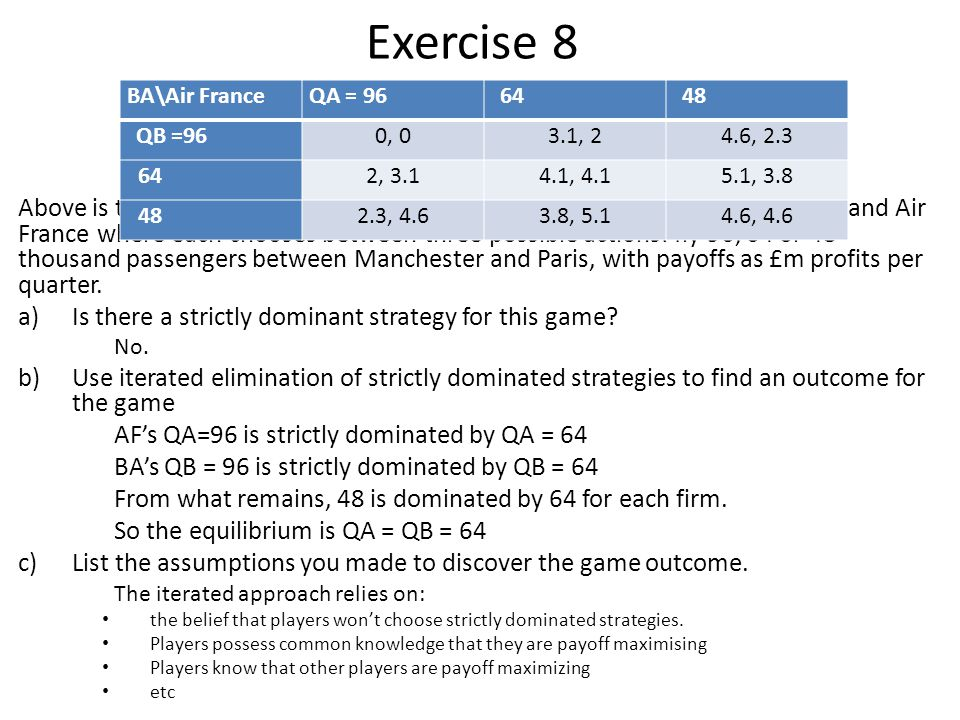 Exercise 8 BA\Air France. QA = 96. 64. 48. QB =96. 0, 0. 3.1, 2. 4.6, 2.3. 2, 3.1. 4.1, 4.1.