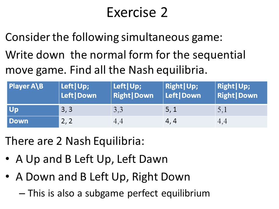 Exercise 2 Consider the following simultaneous game: