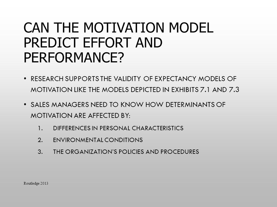 Can the Motivation Model Predict Effort and Performance
